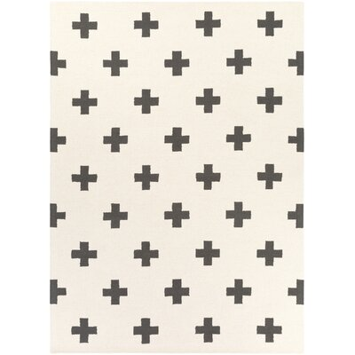 Hilda Monica Hand-Crafted White/Black Area Rug Rug Size: 7'6