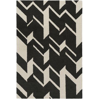 Youmans Hand-Crafted Black/White Area Rug Rug Size: Rectangle 8 x 11