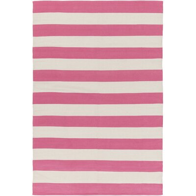 Cybulski Handmade Pink/Ivory Area Rug Rug Size: Rectangle 8 x 10