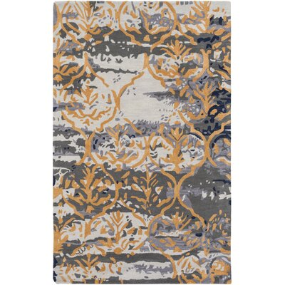 Pacific Holly Hand-Tufted Charcoal Gray/Gold Area Rug Rug Size: 4 x 6