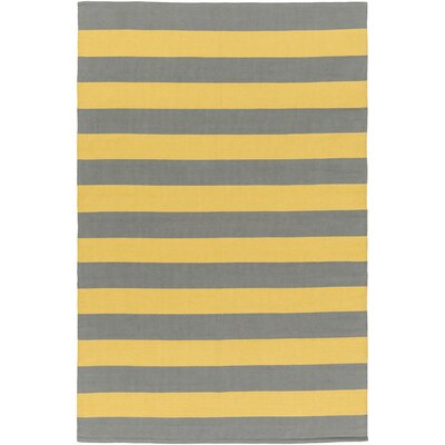 Cybulski Handmade Gray/Yellow Area Rug Rug Size: Rectangle 5 x 76