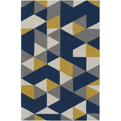 Block Hand Tufted Navy Area Rug Rug Size: Rectangle 5 x 76