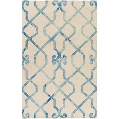Sandhill Hand-Tufted Ivory/Blue Area Rug Rug Size: Rectangle 4 x 6