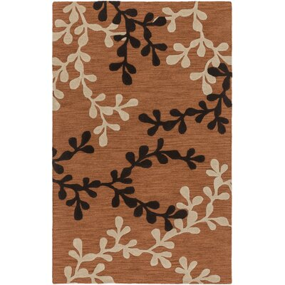 Coutu Hand-Tufted Rust/Brown Area Rug Rug Size: Rectangle 5 x 8