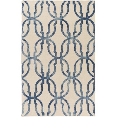 Glennon Hand-Tufted Slate Blue/Ivory Area Rug Rug Size: Rectangle 5 x 8
