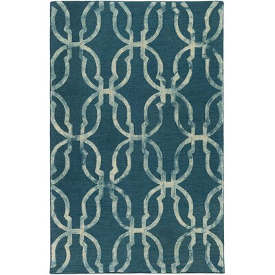 Glennon Hand-Tufted Teal/Beige Area Rug Rug Size: Rectangle 5 x 8