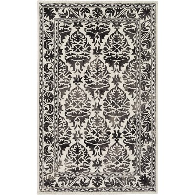 Henricks Hand-Tufted Charcoal/Off-White Area Rug Rug Size: Rectangle 4 x 6