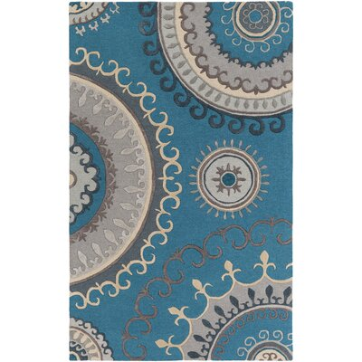 Lounge Alanna Hand-Tufted Teal/Gray Area Rug Rug Size: 5 x 8