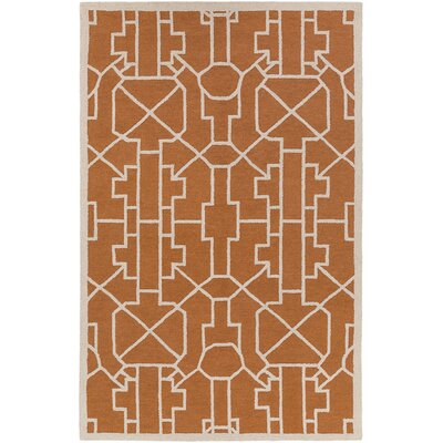 Salamanca Hand-Crafted Orange Area Rug Rug Size: Rectangle 5 x 76