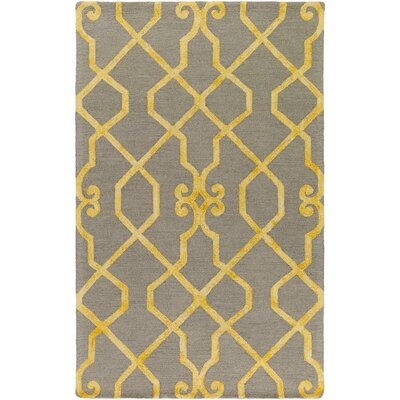 Sandhill Hand-Tufted Light Gray/Yellow Area Rug Rug Size: Rectangle 4 x 6