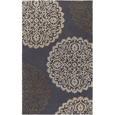 Couture Hand-Tufted Dark Gray/Brown Area Rug Rug Size: Rectangle 4 x 6