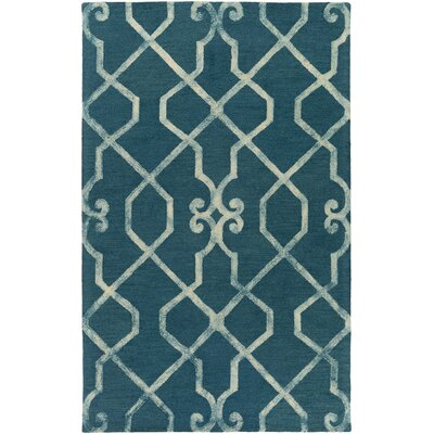 Sandhill Hand-Tufted Teal/Ivory Area Rug Rug Size: Rectangle 5 x 8