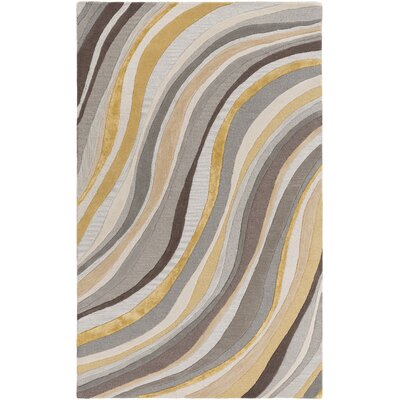 Pena Hand-Tufted Gray/Gold Area Rug Rug Size: Rectangle 4' x 6'