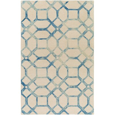 Glenmore Hand-Tufted Teal/Ivory Area Rug Rug Size: Rectangle 4 x 6