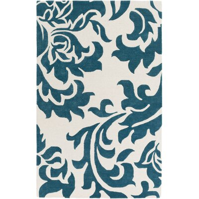 Kiesel Hand-Tufted Teal/Off-White Area Rug Rug Size: Rectangle 4 x 6