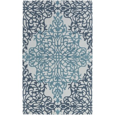 Kerner Hand-Tufted Teal/Light Blue Area Rug Rug Size: Rectangle 4 x 6