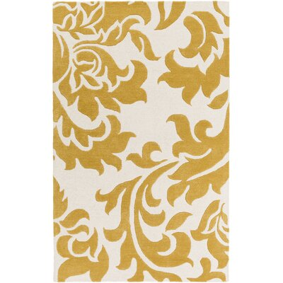 Kiesel Hand-Tufted Gold/Off-White Area Rug Rug Size: Rectangle 9 x 13