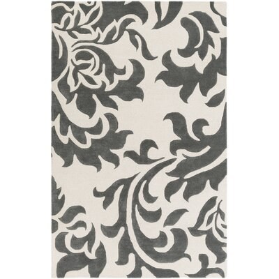 Kiesel Hand-Tufted Dark Gray/Off-White Area Rug Rug Size: Rectangle 4 x 6