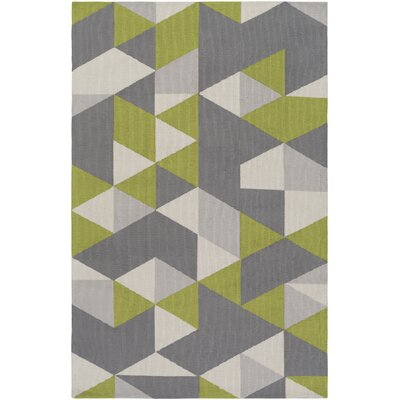 Block Hand Tufted Lime/Gray Area Rug Rug Size: Runner 23 x 10