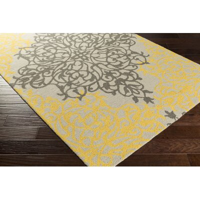 Hermitage Faith Hand-Tufted Gold/Beige Area Rug Rug Size: 4 x 6