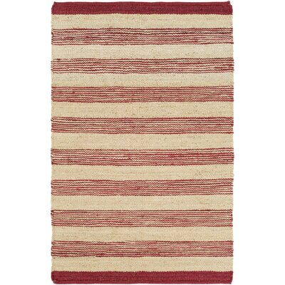 Ayling Hand-Woven Burgundy/Natural Area Rug Rug Size: Rectangle 3 x 5