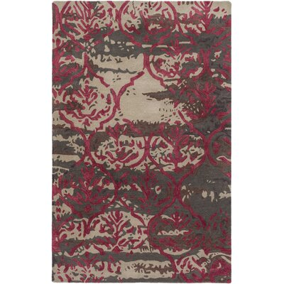 Pacific Holly Hand-Tufted Brown/Burgundy Area Rug Rug Size: 5 x 8