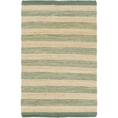 Ayling Hand-Woven Teal/Natural Area Rug Rug Size: Rectangle 4 x 6