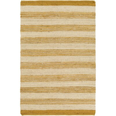 Ayling Hand-Woven Gold/Natural Area Rug Rug Size: Rectangle 3 x 5
