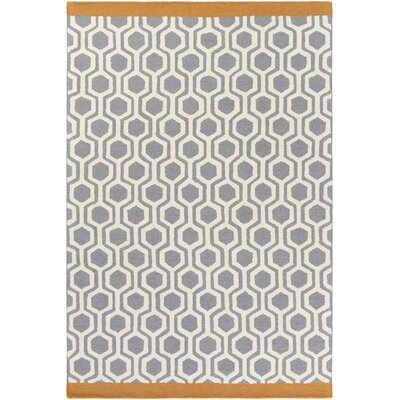 Hilda Eva Hand-Crafted Gray/Orange Area Rug Rug Size: 76 x 96