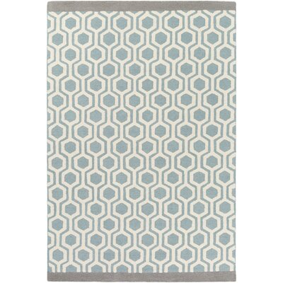 Blitar Hand-Crafted Aqua/Gray Area Rug Rug Size: Rectangle 5 x 76