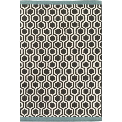 Blitar Hand-Crafted Black/Teal Area Rug Rug Size: 8 x 11
