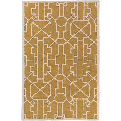 Marigold Leighton Hand-Crafted Gold Area Rug Rug Size: 5 x 76