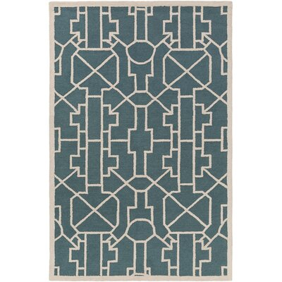 Salamanca Hand-Crafted Teal Area Rug Rug Size: Rectangle 76 x 96