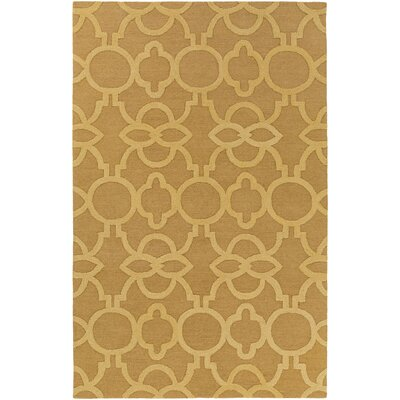 Sandi Hand-Crafted Gold Area Rug Rug Size: Rectangle 76 x 96