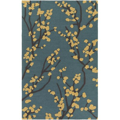 Dykstra Hand-Crafted Teal/Gold Area Rug Rug Size: Rectangle 76 x 96
