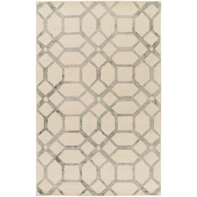 Glenmore Hand-Tufted Ivory/Gray Area Rug Rug Size: Rectangle 5 x 8