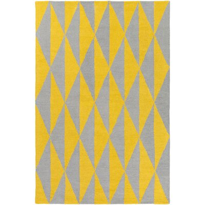 Yowell Hand-Crafted Yellow/Gray Area Rug Rug Size: Rectangle 76 x 96
