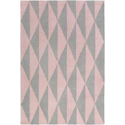 Hilda Sonja Hand-Crafted Gray/Light Pink Area Rug Rug Size: 76 x 96