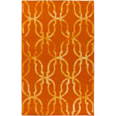Glennon Hand-Tufted Orange/Gold Area Rug Rug Size: Rectangle 4 x 6