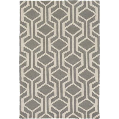 Younkin Hand-Crafted Gray/White Area Rug Rug Size: Rectangle 76 x 96