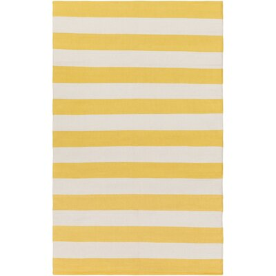 Cybulski Handmade Yellow/Ivory Area Rug Rug Size: Rectangle 4 x 6