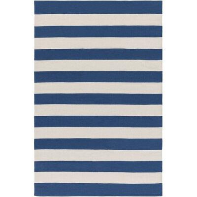 Cybulski Handmade Royal Blue/Ivory Area Rug Rug Size: 4 x 6