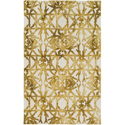 Glenmoor Hand-Tufted Yellow Area Rug Rug Size: Rectangle 5 x 8