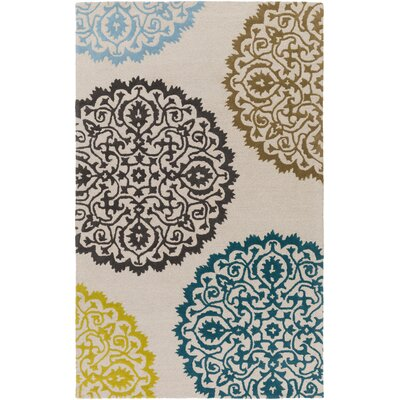 Couture Hand-Tufted Beige Area Rug Rug Size: Rectangle 4 x 6