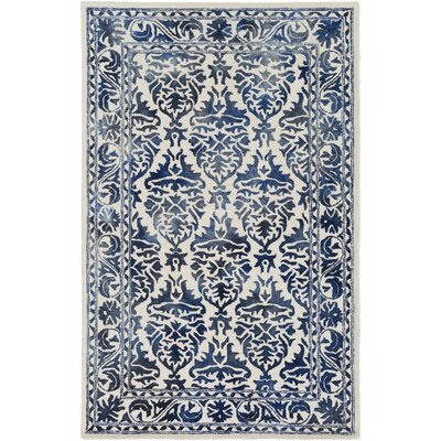 Organic Evelyn Hand-Tufted Blue Area Rug Rug Size: Round 6
