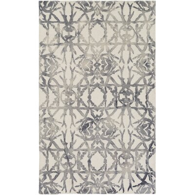 Glenmoor Hand-Tufted Ash Gray/Off-White Area Rug Rug Size: Rectangle 5 x 8