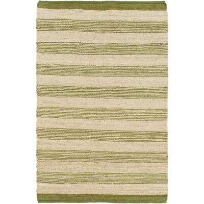 Ayling Handmade Green/Natural Area Rug Rug Size: Rectangle 4 x 6