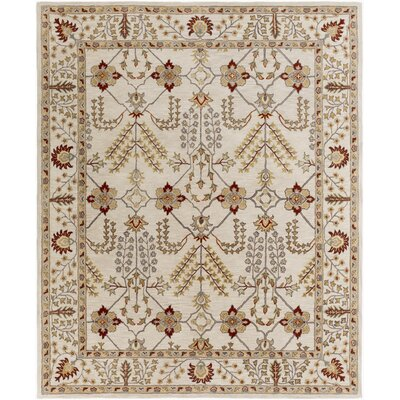 Middleton Kelly Hand-Crafted Ivory/Burgundy Area Rug Rug Size: Round 6