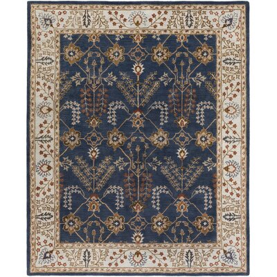 Henriksen Hand-Crafted Navy/Beige Area Rug Rug Size: Rectangle 9 x 13