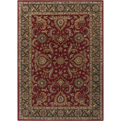 Dvorak Red/Charcoal Area Rug Rug Size: Round 6
